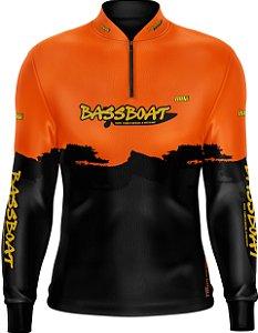 Camisa de Pesca Brk Bass Boat Orange Black com fps 50+