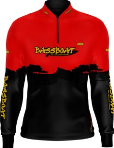 Camisa de Pesca Brk Bass Boat Red Black com fps 50+