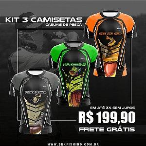 Kit 3 Camisetas Brk Casual de Pesca com FPU 50+