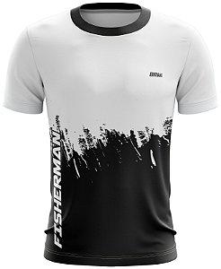 Camiseta Branco com Preto Casual 09 Brk Tecido Dry