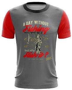 Camiseta Cinza com Vermelho Casual 05 Brk Tecido Dry