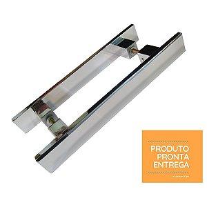 ESTOQUE - Puxador Quadrato - Brilhante - 30cm total x 20cm entre furos