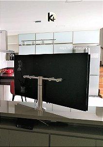 Suporte Giratório TV _ Fixação Móveis - Chapa TV Vidro Preto - Inox Escovado - Altura Sob Medida