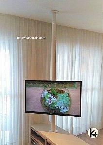Suporte Giratório TV - Fixação Móvel e Teto - Alumínio Branco - Chapa TV Aço Preto - Sob Medida