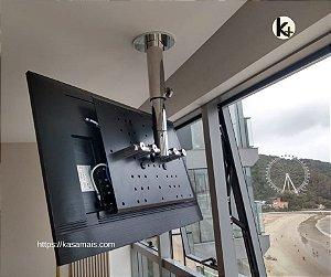 """Suporte Giratório TV _ Fixação Teto _ Com regulagem de Altura - Aço Inox Brilhante ou Escovado - Para TV's de 32"""" a 55"""""""