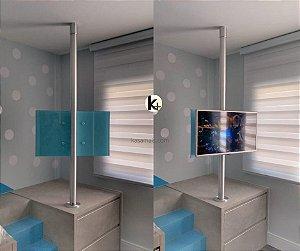 """Suporte Giratório TV _ Fixação Móvel e Teto - Tubo Escovado - Chapa TV Vidro Azul Claro - Sob Medida - Para TV's de 32"""" a 75"""""""