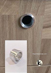 Puxador para Móveis – Modelo Embutido Redondo – Alumínio Escovado