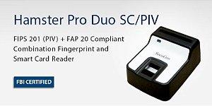 Leitor biométrico com leitor de cartão SmartCard contato Secugen Hamster PRO Duo SC/PIV