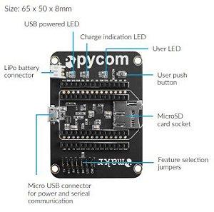 EXPBOARD2-0 Placa de expansão para placas Pycom LoPy4 LoPy SiPy