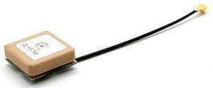 Antena GNSS (GPS, Glonass, ...) patch ceramica ativa 15s15 - ANGNSS-IA-15-070MM-UFL-JS