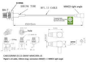 Pigtail conectores SMA(F) O-Ring <-> MMCX 90 graus, comprimento 150mm - CAB150MM-D113-SMAF-MMCXRA-JS