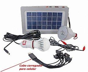 Kit Placa Solar  2 Lampadas carregador celular