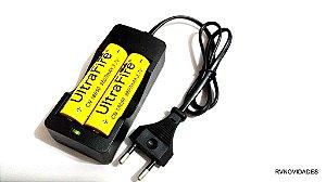 Kit Carregador Duplo  + Bateria Ultra Fire  Recarregável 18650 3,7v