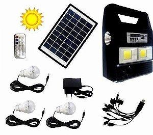 Kit Painel Placa Solar Com Bateria  3 Lampadas