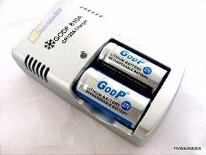 Kit Carregador + Baterias 3.0v Cr123a