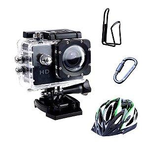 Camera Filmadora Prova D` Água Capacete Bicicleta Moto