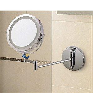 Espelho Articulado Para Banheiro Com Luz Led Grande