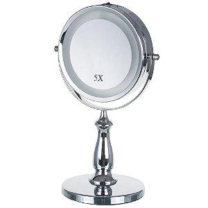 Espelho De Mesa Para Maquiagem Com Luz De 20 Led Duplo