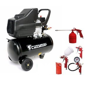 Compressor Ar Duplo 25L Pistão 2hp + kit