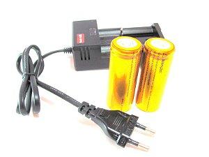 Carregador mais 2 Bateria 26650 8800mah 3.7v