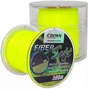 Linha de Pesca Crown Fiber Soft Monofilamento Amarelo 0,37mm 27Lbs 500m