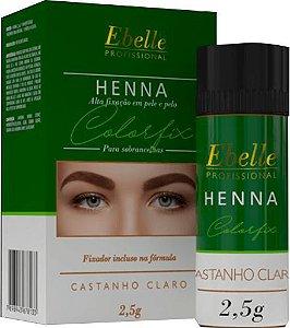 HENNA SOBRANCELHA CASTANHO CLARO CX COM 12 UNIDADES