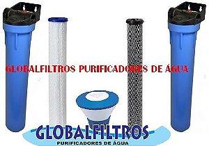 Conjunto De Filtros Completos Para Cisterna E Poço Artesiano Com dosador de Cloro Flutuante 3000