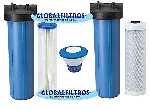 Conjunto De Filtros Completos Para Cisterna E Poço Artesiano Com dosador de Cloro Flutuante 6000