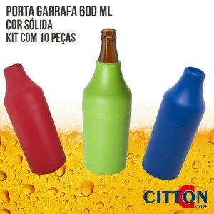 Porta Garrafa 600 ML Cor Sólida Kit 10 Peças - Anodilar