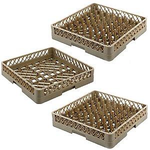 Conjunto de 2 Racks de Pino Para Pratos e 1 Rack para Copos Gaveta Máquina Lava Louça 50x50 Cm