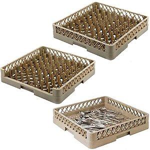 Conjunto de 1 Racks de Pino Para Pratos e 1 Rack para Bandejas e 1 Rack para Talher Gaveta Máquina Lava Louça 50x50 Cm