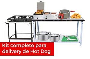Kit Hot Dog com Fritas - Equipamentos para Delivery de Cachorro Quente - Fogão + Prensa c/ Molheira + Fritadeira + Mesa de Apoio + Utensílios