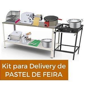 Kit Pastelaria - Equipamentos para Delivery de Pastel - Fogão + Cilindro + Amassadeira + Fritadeira + Vitrine Aquecida + Utensílios