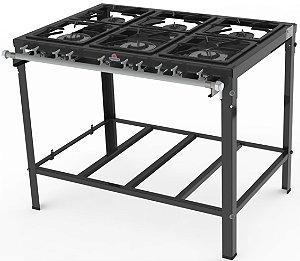 Fogão Industrial 6 Queimador 3 Simples E 3 Duplos PMSD-603