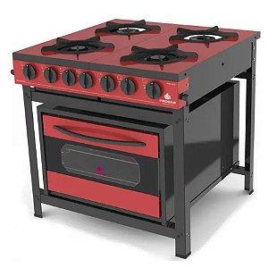 Fogão Industrial com Forno PRGE-402 F Gourmet Progás Tampo Esmaltado Vermelho