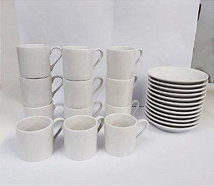 Xicara de 90 ml Com Pires Porcelana Branca Kit Com 36 Unidades