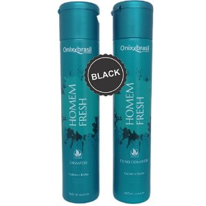 Homem Fresh Black - tonalizante - Shampoo 300 ml + Condicionador 300ml - Para cabelo e barba