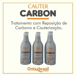 Cauter Carbon - 500 ml,  kit 3 ITENS , queratina, shampoo e mascara, realimento dos fios e reconstrução capilar