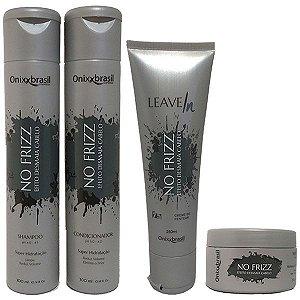 Kit Completo No Frizz - Shampoo + Condicionador + Leave-in + Mascara - reduz volume e alinha os fios
