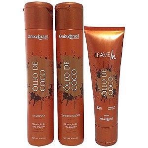 Oléo de Coco - Shampoo + Condicionador + Leave-in - alto poder de hidratação