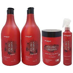 NOVA EMBALAGEM Kit Completo Pos Progressiva Profissional - Escova Nutritiva -  Shampoo + Condicionador + Máscara + Fluido Reparador - Para cabelos quimicamente tratados