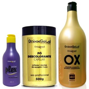 Kit descoloração completo - Pó Descolorante + emulsão Cremosa OX 40 Vol + Plex
