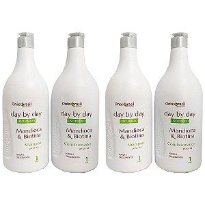 Kit Duplo day by day Mandioca e Biotina - 2x shampoo + 2x condicionador