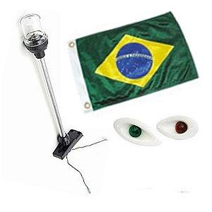 Kit Luz De Navegação - Led Olho De Tubarão + Mastro + Bandeira do Brasil