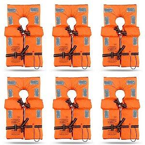 KIT com 6 Coletes Salva Vidas Homologado Classe II - Tamanho G - Ativa