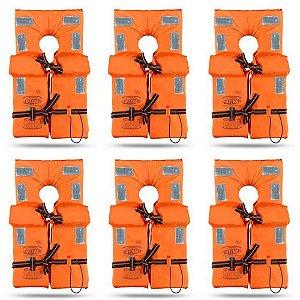 KIT com 6 Coletes Salva Vidas Homologado Classe II - Tamanho GG - Ativa