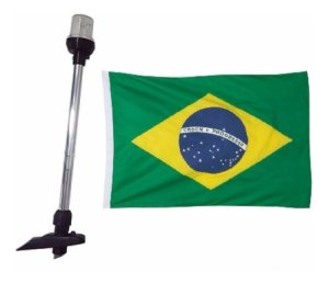 Mastro De Alcançado Popa Luz Led 12v Com Bandeira Do Brasil