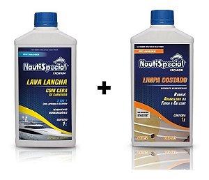 Lava Lancha C/ Cera 1l. + Limpa Costado 1l. Nautispecial