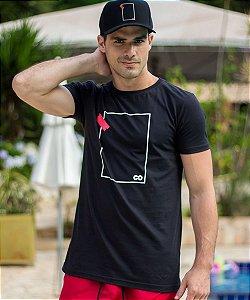 Camiseta Longline Fita Quadrado Preta - CO Oficial