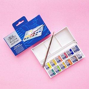 Aquarela Winsor & Newton Cotman 12 cores em pastilha + pincel (avançado)